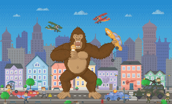 Pixel art game with monster eating citizens and cars. 8 bit retro arcade, police and fighting people shooting at gorilla. Cityscape with skyscrapers and buildings. Playing process vector in flat