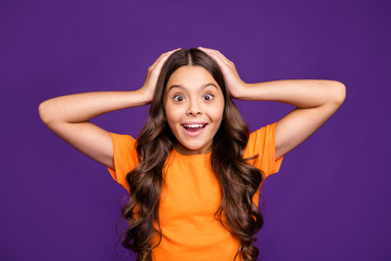 Close-up portrait of her she nice attractive charming lovely stunned cheerful wavy-haired girl wow great cool news isolated over bright vivid shine vibrant lilac purple violet color background