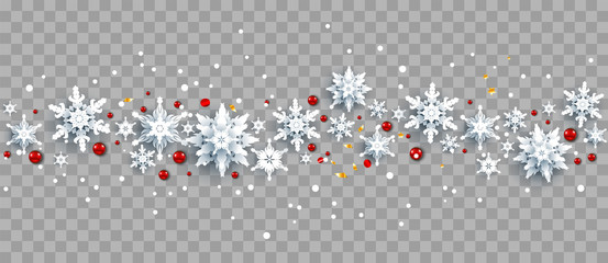 Fotomurales - Snowflakes and red berries on background