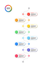 vertical timeline infographic with round elements on white background. modern business process visualisation with marketing line icons. vector illustration template easy to edit and customize. eps 10