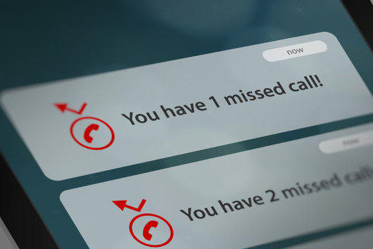 Message App with Missed Call Notifications on Smart Phone Screen