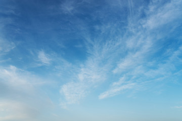 beautiful blue sky with cirrostratus clouds on sunny day background