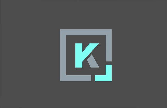 grey letter K alphabet logo design icon for business