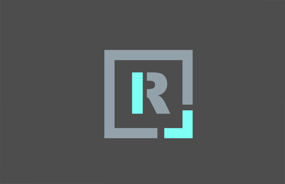 grey letter R alphabet logo design icon for business