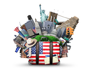 Suitcase with American flag on the background of USA landmarks