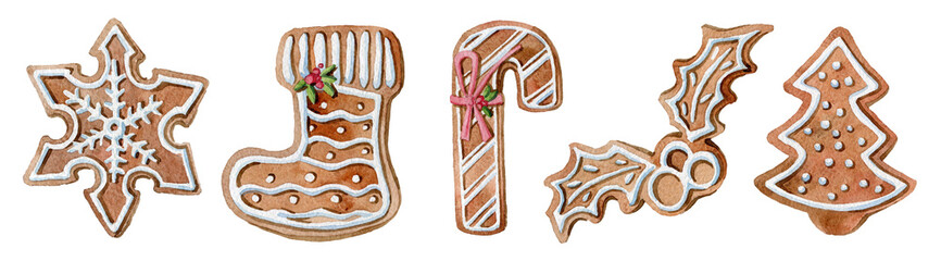 Watercolor  set of Christmas ginger cookies. Homemade cookies for the new year. Seasonal clipart