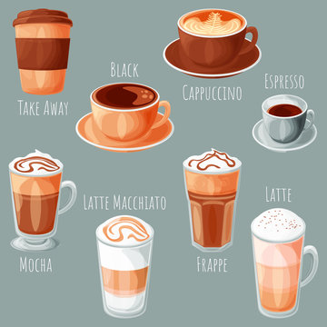 Coffee types cartoon style vector illustrations set, isolated realistic colorful coffee icons.