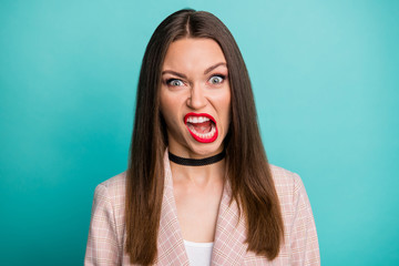 Close-up portrait of her she nice-looking attractive crazy outraged straight-haired girl expressing rage aggression isolated over bright vivid shine vibrant blue green turquoise color background