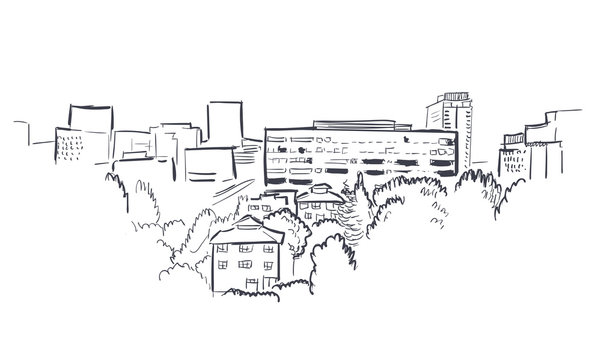 Anchorage Alaska vector sketch line usa landscape hand drawn