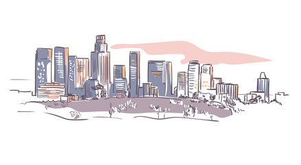 California Los Angeles vector sketch line usa landscape hand drawn Fototapete