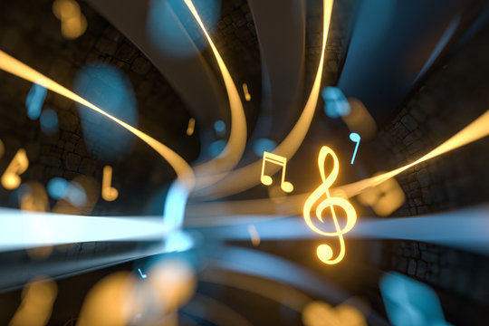 Music notes with dark background, floating notes, 3d rendering.