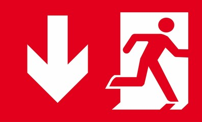 Red emergency fire exit sign. Wall mural