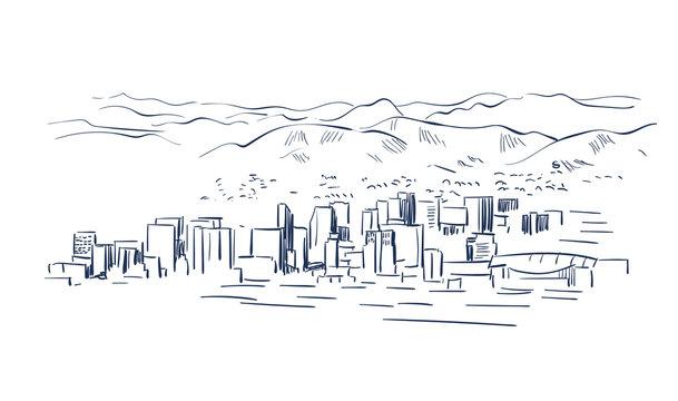 Phoenix Arizona vector sketch line usa landscape hand drawn