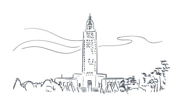 Baton Rouge Louisiana usa America vector sketch city illustration line art