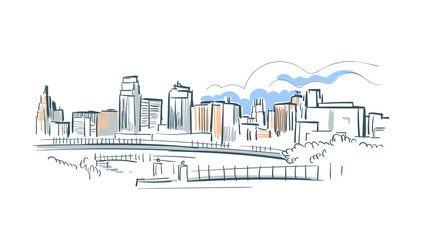 Kansas city Missouri usa America vector sketch city illustration line art