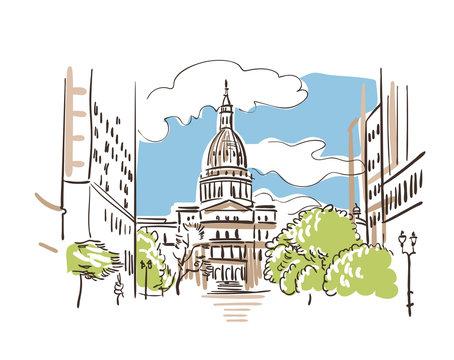 Lansing Michigan usa America vector sketch city illustration line art
