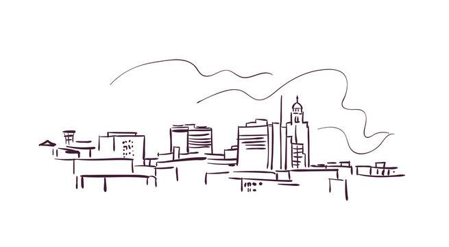 Linkoln Nebraska usa America vector sketch city illustration line art