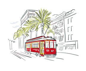 New Orleans Louisiana usa America vector sketch city illustration line art