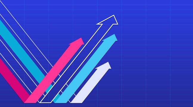 Rebound arrow group on a blue background. Vector illustration.