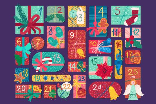 Christmas festive advent calendar flat vector illustration