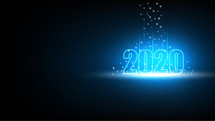 Happy New year 2020 with Technology abstract futuristic background, Hi-tech digital and engineering concept, Vector illustration