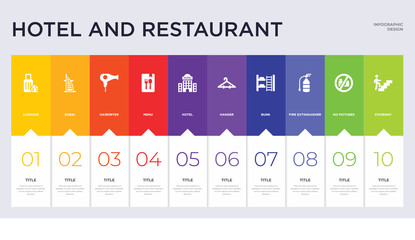10 hotel and restaurant concept set included stairway, no pictures, fire extinguisher, bunk, hanger, hotel, menu, hairdryer, dubai icons