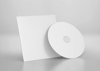 White CD-DVD Compact Disk Mockup, 3d Rendered on Light Gray Background