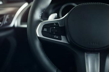 Modern car interior detail closeup