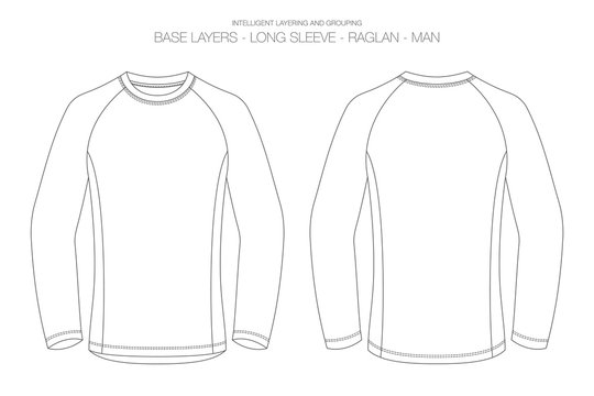 Base Layer Vector Illustration. Outlines, Stitches and Isolated Background for Technical Design and Mockup