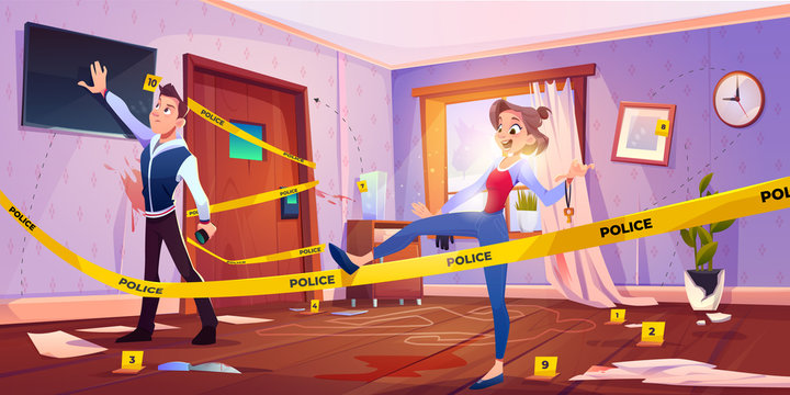 Quest escape room with crime scene, man and woman searching exit from murder place fenced with yellow police tape and chalk silhouette of dead body on floor in apartment. Cartoon vector illustration