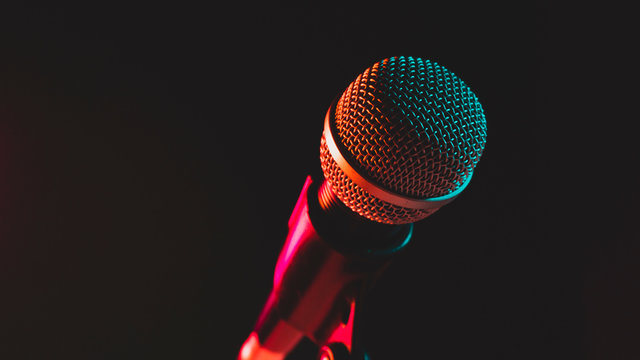 close up microphone on stand