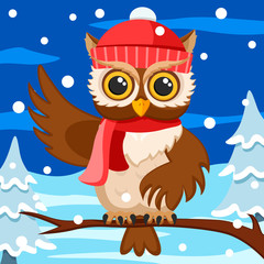 Canvas Prints Owls cartoon Owl in a hat and scarf sits on a branch and waves its wing. Christmas background