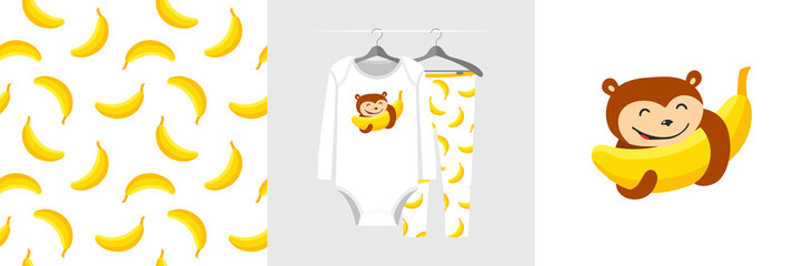 Wall Mural - Seamless pattern and illustration for kid with monkey abd banana