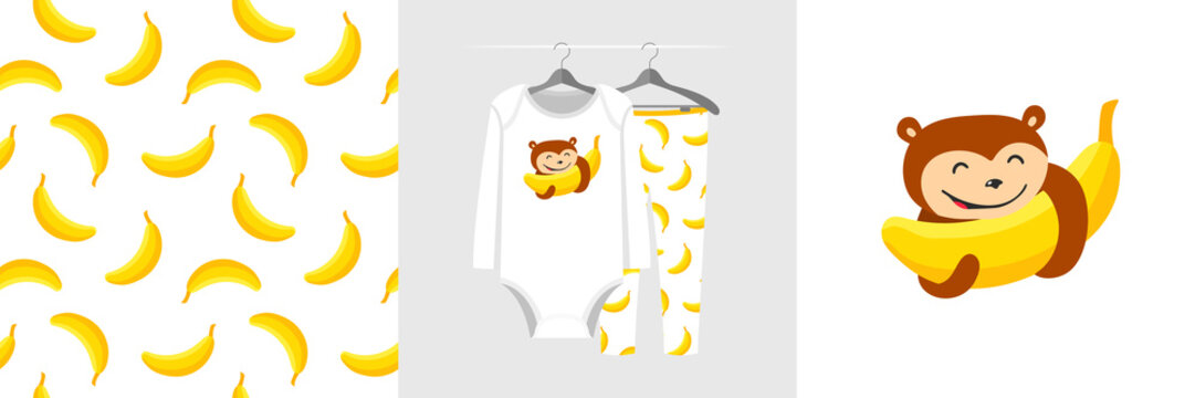 Seamless pattern and illustration for kid with monkey abd banana