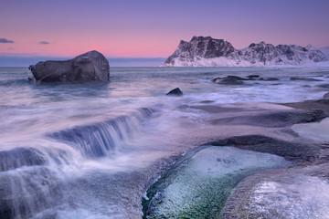 Fototapete - Uttakleiv beach on the Lofoten in Norway in winter