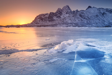 Wall Mural - Frozen fjord on the Lofoten in northern Norway