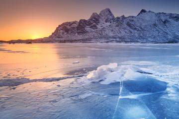 Fototapete - Frozen fjord on the Lofoten in northern Norway