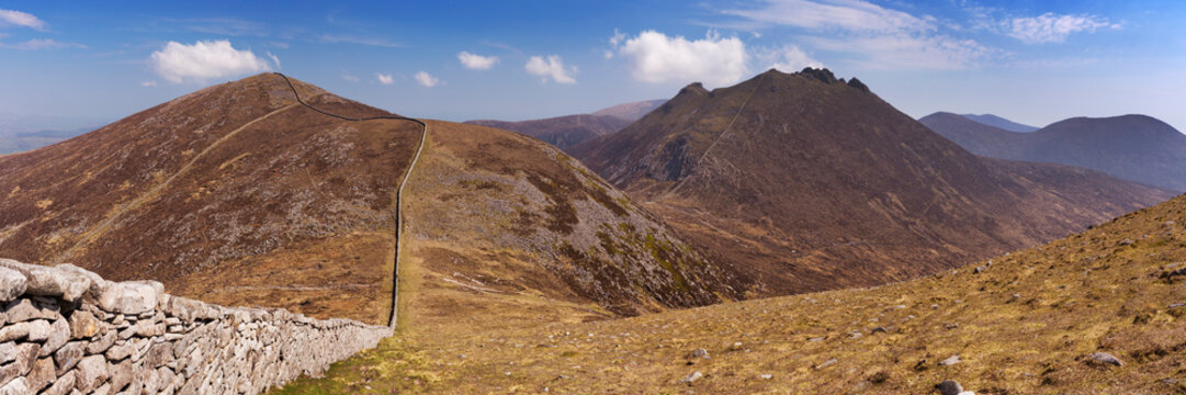 The Mourne Wall in the Mourne Mountains in Northern Ireland