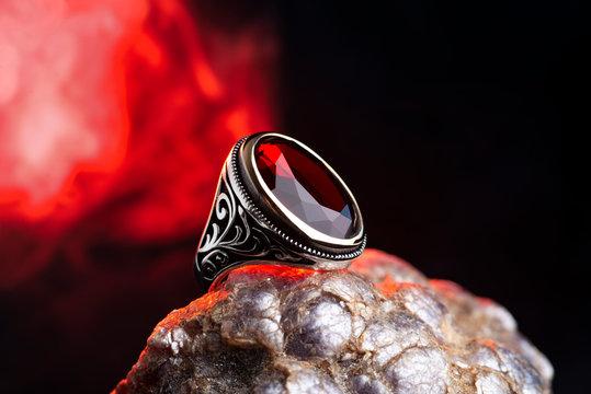 Red stone men ring