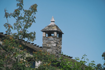 Chimney of historic house in Galicia, Spain.