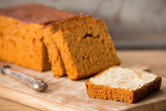 Traditional Dutch spice bread or 'ontbijtkoek' with butter