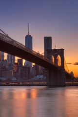 Foto op Aluminium Brooklyn Bridge Brooklyn Bridge and New York City skyline at sunset