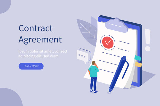 Man Character Standing near Contract Document, Reading Privacy Policy and Terms and Conditions. Businessman Signing Contract. Contract Agreement Concept. Flat Isometric Vector Illustration.