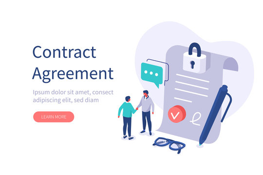 Characters Shaking Hands after Signing Official Contract Document. Two Businessman Finishing Successful Business Deal. Contract Agreement and Management Concept.  Flat Isometric Vector Illustration.