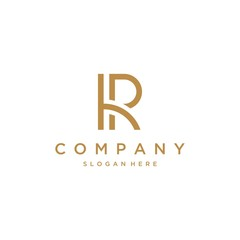 Creative minimalism business logotype icon symbol. Letter R vector line logo design.