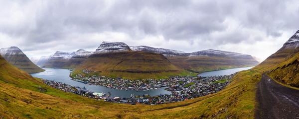 Wall Mural - City of Klaksvik with a dirt road on Faroe Islands, Denmark