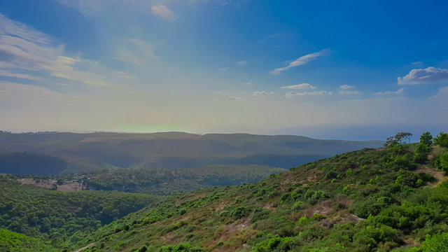 Mount Carmel in Haifa - Panoramic view. Travel to Israel in autumn and winter.