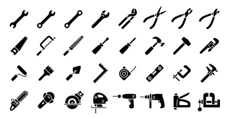 Tool Icon Set (Flat Silhouette Version)