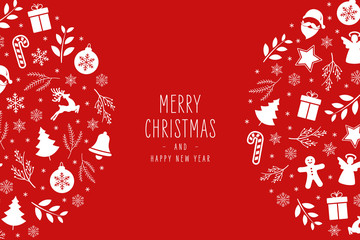 Fototapete - Christmas icons elements decoration greeting card on red background