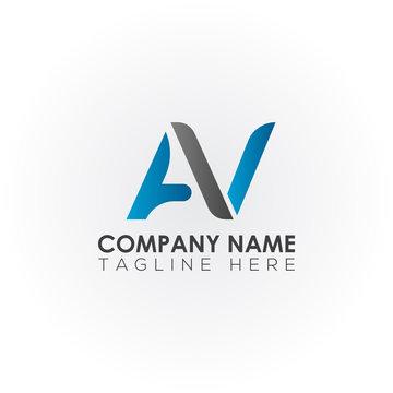 Initial letter AV simple logo Vector template. Simple AV Letter logo design. AV font type logo.